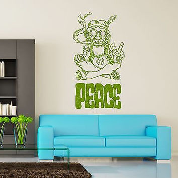 Wall Vinyl Hippie Peace Marihuana Weed Smoking Usa Flag Dorm Room Decor Z3399