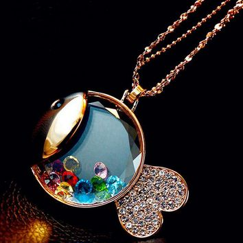 Floating Crystals in Gold Fish Fashion Necklace - LilyFair Jewelry