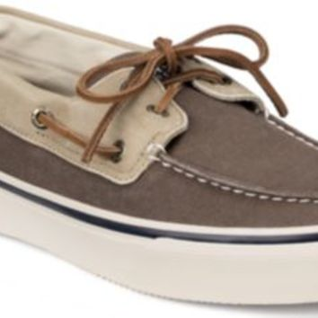Sperry Top-Sider Bahama Leather & Canvas 2-Eye Boat Shoe Brown/ChinoCanvas, Size 9M  Men's Shoes