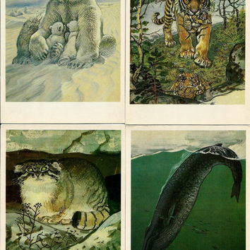Animals, birds, fish - Red Book of USSR - Vintage Russian Soviet Postcards  - set of 16