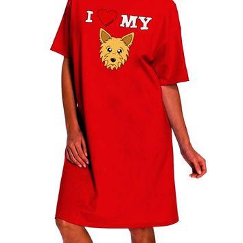 I Heart My - Cute Yorkshire Terrier Yorkie Dog Dark Adult Night Shirt Dress by TooLoud