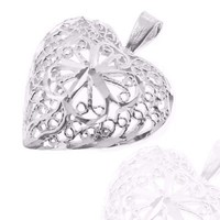 925 Sterling Silver Jewelry, Lovely Heart Charm in Fabulous Filigree Pattern, Adjustable Fit, Plus Free Special Gift Pouch | AihaZone Store
