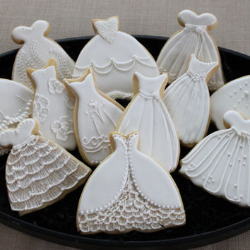 Wedding dress cookie favors, sweet 16, bridal shower, prom, custom cookie favors, princess cookies, custom sugar cookies, bridal luncheon