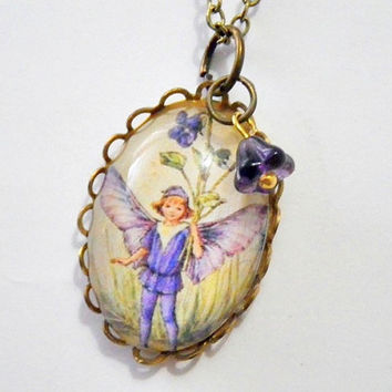 Flower Fairies of the Spring: Dog-Violet Fairy with purple bell flower cameo pendant necklace