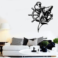 Wall Stickers Vinyl Decal Shark Fish Ship Anchor Man Ocean Marine Decor Unique Gift (z2203)