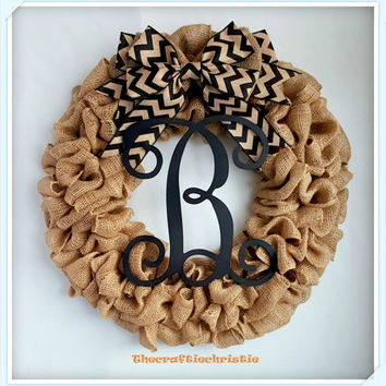 Burlap Monogram Wreath Personalized Burlap Wreath Front Door Wreath Everyday Wreath Rustic Wreath Housewarming Gift Mother's Day Gift