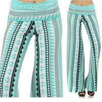Mint Teal Aqua Aztec Tribal Palazzo Wide Leg Fold Over Stretch Pants USA Fashion