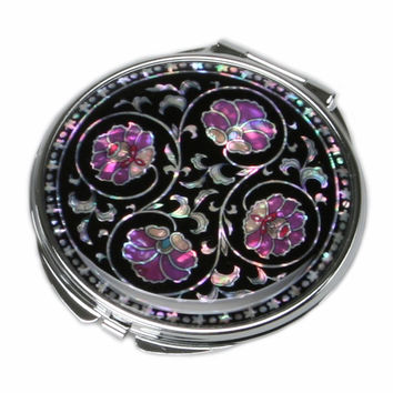 Mother of Pearl Purple Flower 2x Magnification Double Compact Cosmetic Makeup Portable Folding Mini Purse Beauty Pocket Mirror