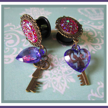 "Purple heart and bronze Key dangle stretched EAR PLUG pick size 2g, 0g, 00g, 7/16"", 1/2"", 9/16"", 5/8"", 11/16"" aka 6, 8, 10, 12, 14, 16, 18mm"