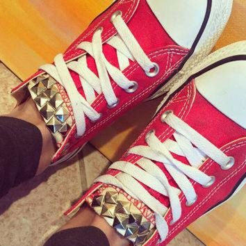 DCKL9 Custom Studded Red Converse All Star - Chuck Taylor Shoes - ALL SIZES & COLORS!