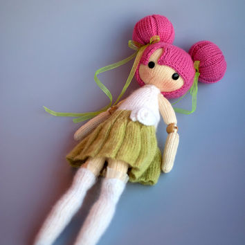 Bubble Doll. - pdf knitting pattern. Knitted round. Bead jointed doll.