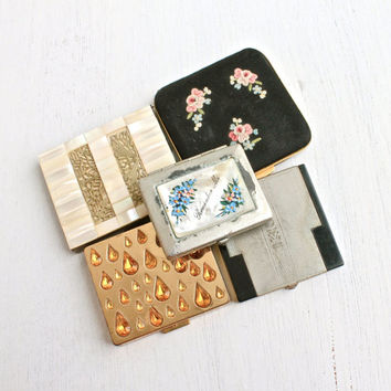 Vintage & Antique Compact Lot - 5 Various Make Up Fashion Accessory Cases - Richard Hudnut, Flato, France...