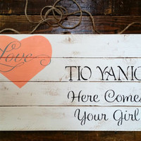 Distressed Rustic Pallet Here Comes Your Girl Sign, Pallet Wedding Signs, Rustic Wedding Decor, Ring Bearer Sign, Personalized Wedding Sign