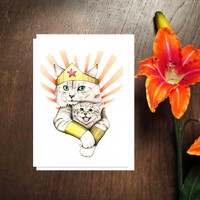 Super Mom Card   Mother's Day Cat Card