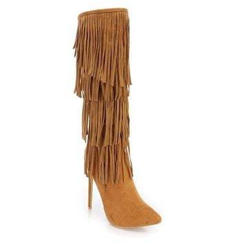 Brown Faux Suede Fringe High Heel Stiletto Knee High Boots