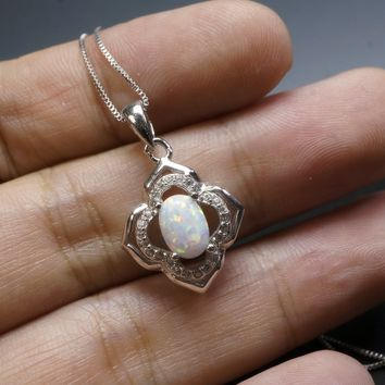 Dainty Opal Necklace Sterling Silver Flower Of Life High Quality Luxury Fire Opal Pendant CZ Flower Jewelry