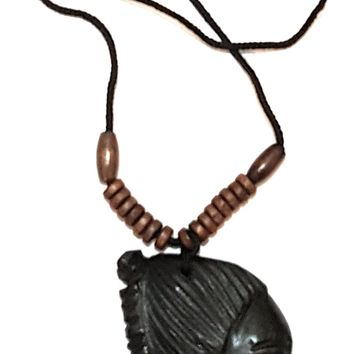 Safari Lionel Wooden and/or Beaded Pendant Ethnic Tribal African Necklace