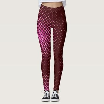 Pattern Maroon with Purple dots Yoga Legging