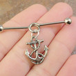 Silver Anchor Industrial Barbell Piercing Upper Ear Ring Cartilage Piercing