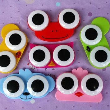 1PCS Sweet Cartoon 3D Big Eyes Contact Lenses Box & Case Owl Frog Animal Shape Contact lens Case Free Shipping