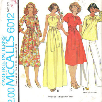 Retro Boho Hippie Style Maxi Midi Dress McCall's 6012 Sewing Pattern 70s Disco Fashion Keyhole Neck Halter Raglan Sleeves Bust 36