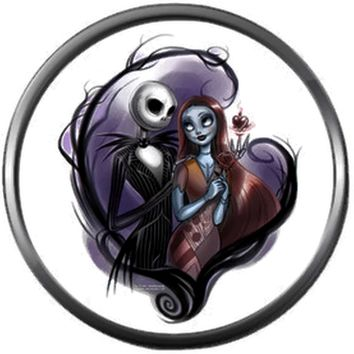 Nightmare Before Christmas Jack Skellington And Sally In Purple Heart 18MM - 20MM Charm for Snap Jewelry New Item