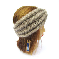 Headband with a twist - light beige knit headband - knitted beige twisted headband - chunky knit cream turban - girls knit hairband