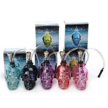 Top Quality Lovely Skull Head Hookah Mini Shisha Glass Healthy Smoking Gift Cigarette Tobacco Herb Pipe Narguile Water Pipe