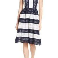 MICHAEL Michael Kors Stripe Eyelet Fit & Flare Dress | Nordstrom