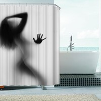 Fashion Creative Sexy Girl And Women Shadow Silhouette Bath Shower Curtain Waterproof Bathroom Curtain Home Decoration