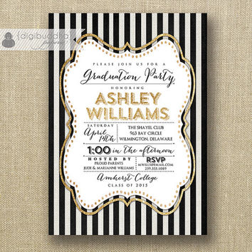 Black & Gold Glitter Graduation Party Invitation Vertical Stripes Gatsby Bachelorette FREE PRIORITY SHIPPING or DiY Printable - Ashley