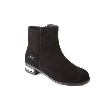 Ozwear UGG Suede Calla Pearls WOMEN'S Martin Shoes Shallow Boots