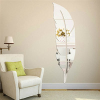 Removable Home Mirror Feather Wall Stickers Decal Art Vinyl Room Decor DIY