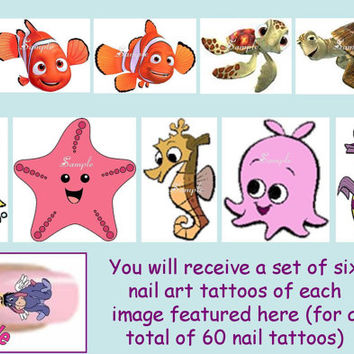 60 x Finger / Toe Nail Art Decals Finding Nemo Disney Dory Turtle Marlin Bubbles & Free Gift