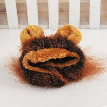 Cute Pet Hat Costume Lion Mane Cat Wig Halloween Dress Up With Ears Grey Brown Colors