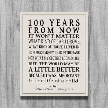 Teacher Gift, Christmas Gift for Teacher, 100 YEARS From Now SIGN, Canvas Print, Personalized Teachers Appreciation Gift Inpirational Print