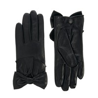 Mango Bow Leather Look Gloves