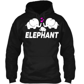 Men_s Women_s T Shirt Three Elephants Family Pullover Hoodie 8 oz