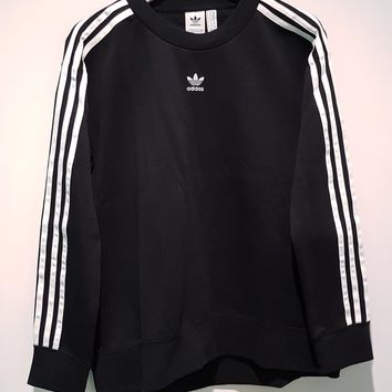 Adidas Originals Black Three Stripe Pullover Sweater