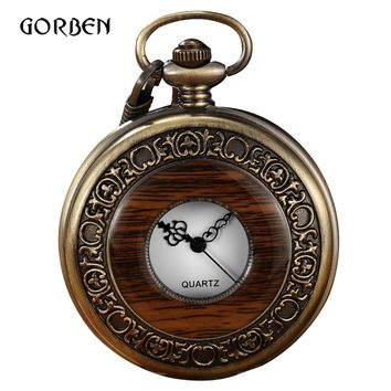 Vintage Wood Pocket Watch Men Box Arabic numeral Quartz Fob Watches with chain pendent Steampunk pocket watches Relogio De Bolso