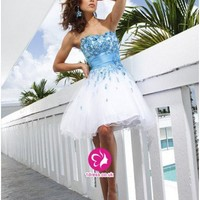 UK Dresses 30-75% Off - 2012 Style A-line  Strapless  Applique Sleeveless Short/Mini Organza Cocktail Dresses/Homecoming Dresses (UK0247672 )