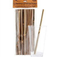 Brush With Bamboo, Bamboo Drinking Straws, 12-pack