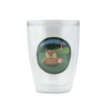 Gopher Golf Needlepoint Tumbler by Smathers & Branson