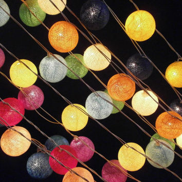 Colour variation Pure Colour cotton balls string by SmileLight