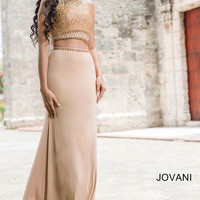 Nude Jersey Two-Piece Prom Dress 24302