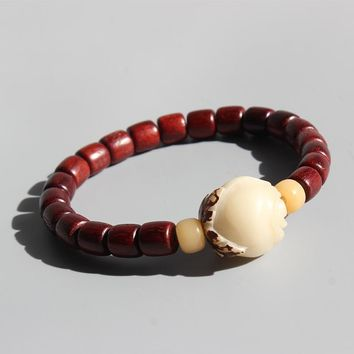 Sanders Wood Beads Bodhi Seed Carved Rose Charm Bracelets