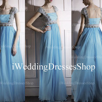 A Line Cap Sleeve Sweetheart with Beading Blue Silk Chiffon Long Evening Gown, Prom Dress, Wedding Party Dress, Evening Dress, Prom Gown
