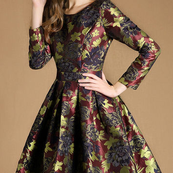 Floral Print Long Sleeve Jacquard Skater Dress