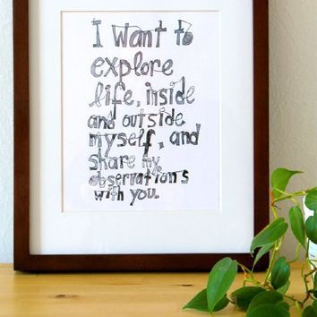 Supermarket - I want to explore life - Small poster size from M-C Turgeon's Inspired art & design