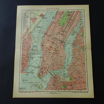 1905 NEW YORK old map of New York original antique city plan about NY Manhattan Brooklyn vintage detailed maps poster 25x31c 10x12""
